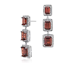 Garnet Emerald Cut Halo Drop Earrings in Sterling Silver