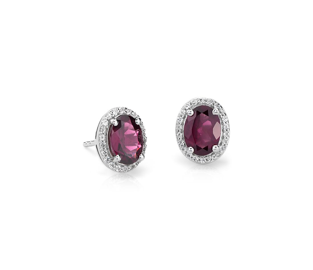 Oval Rhodolite and White Topaz Halo Stud Earrings in Sterling Silver