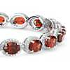 Garnet and White Topaz Halo Bracelet in Sterling Silver