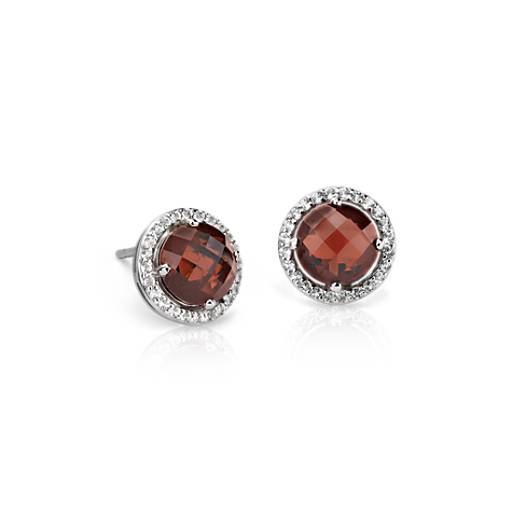 Garnet and White Topaz Halo Earrings in Sterling Silver (7mm)