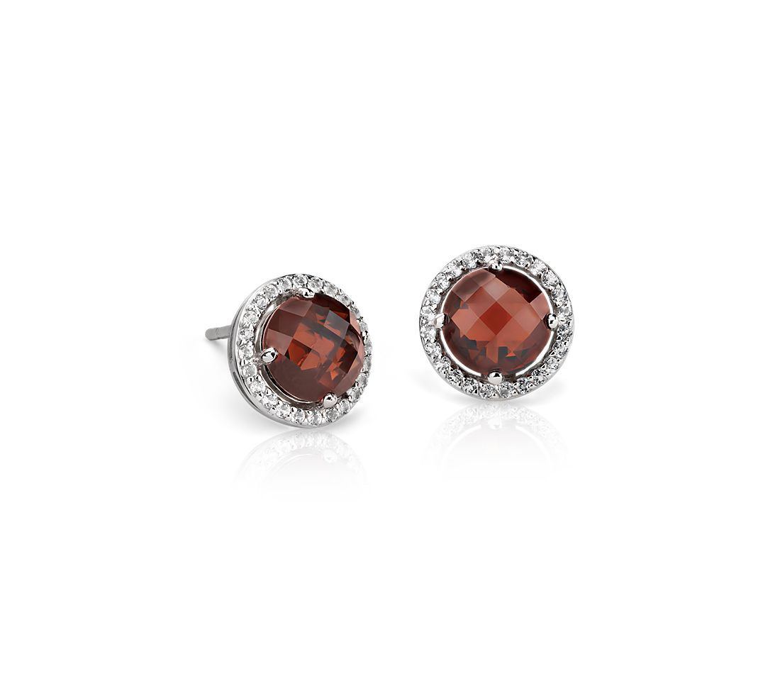 Garnet and White Topaz Halo Earrings in Sterling Silver