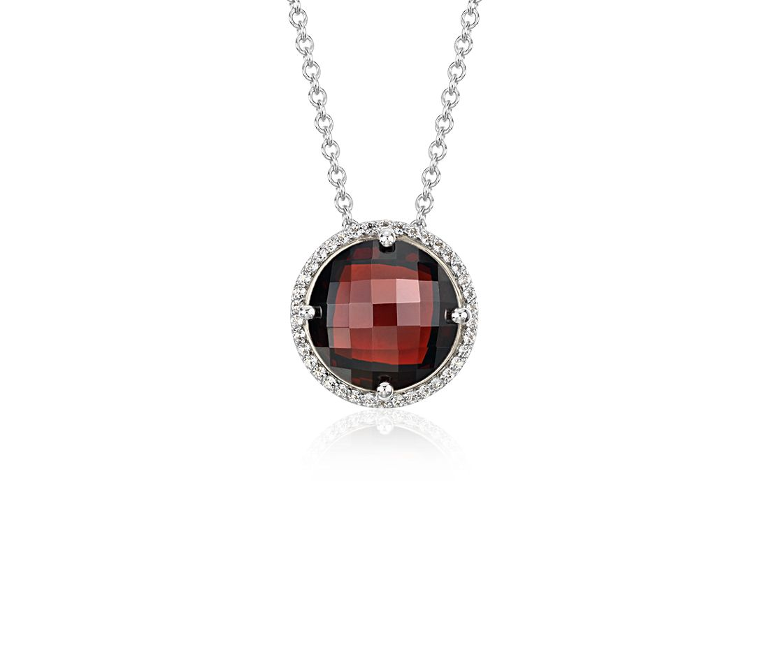 Garnet and White Topaz Halo Necklace in Sterling Silver