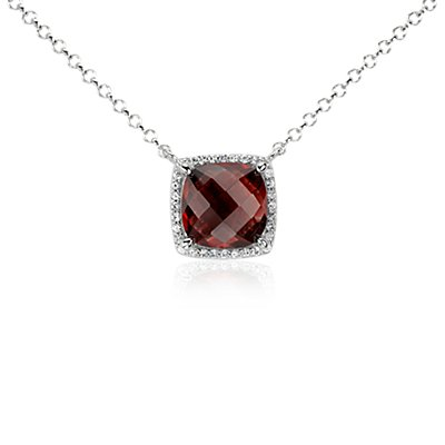 Garnet and White Topaz Single Halo Necklace in Sterling Silver (10x10mm)