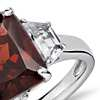 Garnet and White Topaz Radiant Cut Ring in Sterling Silver (10x8mm)