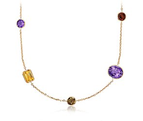 Multicolor  Gemstone Necklace in 14k Yellow Gold - 18'' Long