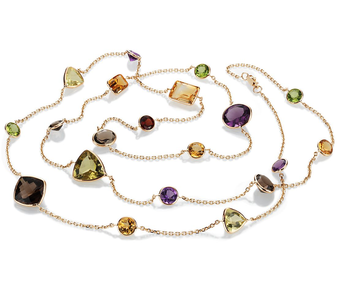 "Multicolor  Gemstone Necklace in 14k Yellow Gold (34"" Long)"