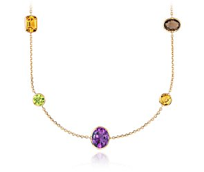 Multicolor  Gemstone Necklace in 14k Yellow Gold (34
