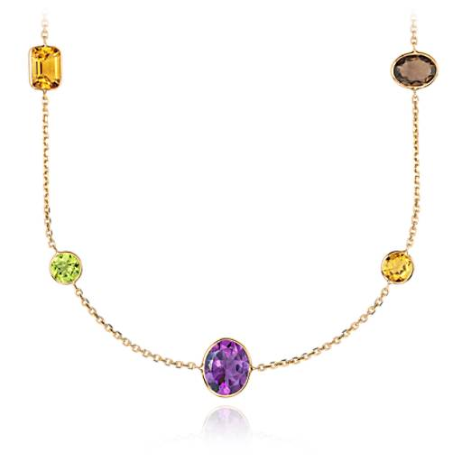 "Multicolor  Gemstone Necklace in 14k Yellow Gold (34"" Long) (11x11mm)"