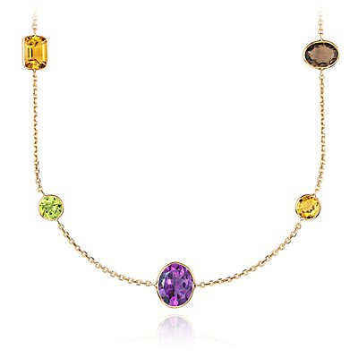 Collier de pierres gemmes multicolores en or jaune 14 carats (86,36 cm de long) (11 x 11 mm)