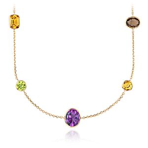 Collier long de pierres gemmes multiples en or jaune 14 carats 86,4 cm