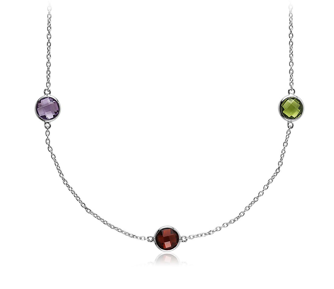 Multi Colour Gemstone Necklace in Sterling Silver - 18""