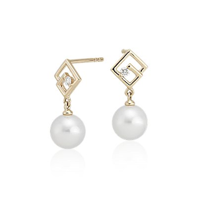 NEW Geometric Freshwater Pearl Drop Earrings with Diamond Detail in 14k Yellow Gold