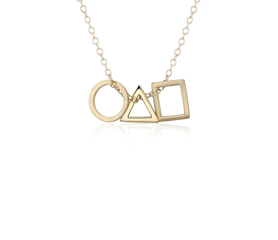 Geometric Shapes Pendant in 14k Yellow Gold