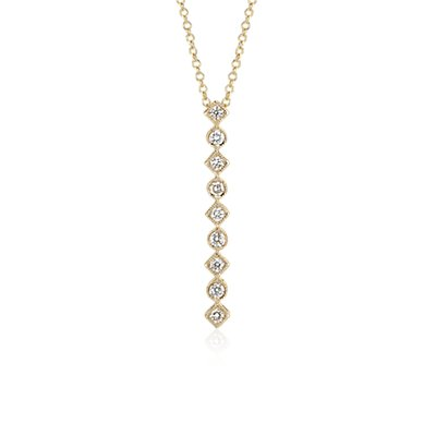 Geometric Vertical Bar Diamond Pendant in 14k Yellow Gold