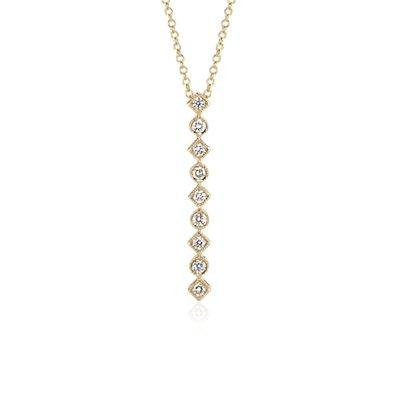 Geometric Vertical Bar Diamond Pendant in 14k Yellow Gold