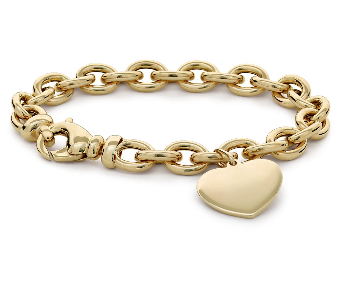 Heart-Tag Bracelet in 14k Gold