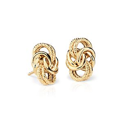 Boucles d'oreilles nœud byzantin en or jaune 18carats