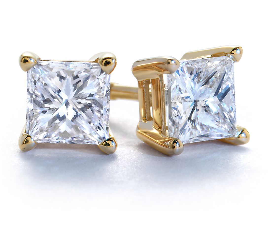 18kYellow Gold Four-Claw Square Earring Setting