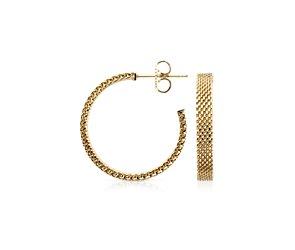 """Micro-Mesh Hoop Earrings in 18k Yellow Gold (7/8"""")"""