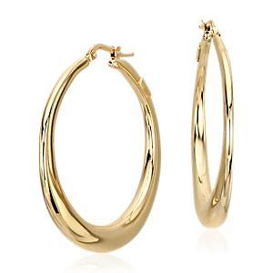 14k 黃金黃金圈形耳環( 1 1/2 英寸)