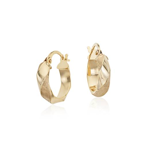 "Twisted Hoop Earrings in 14k Yellow Gold (9/16"")"