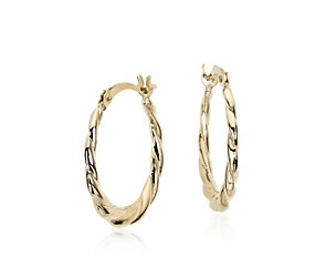 Petite Twisted Hoop Earrings in 14k Yellow Gold