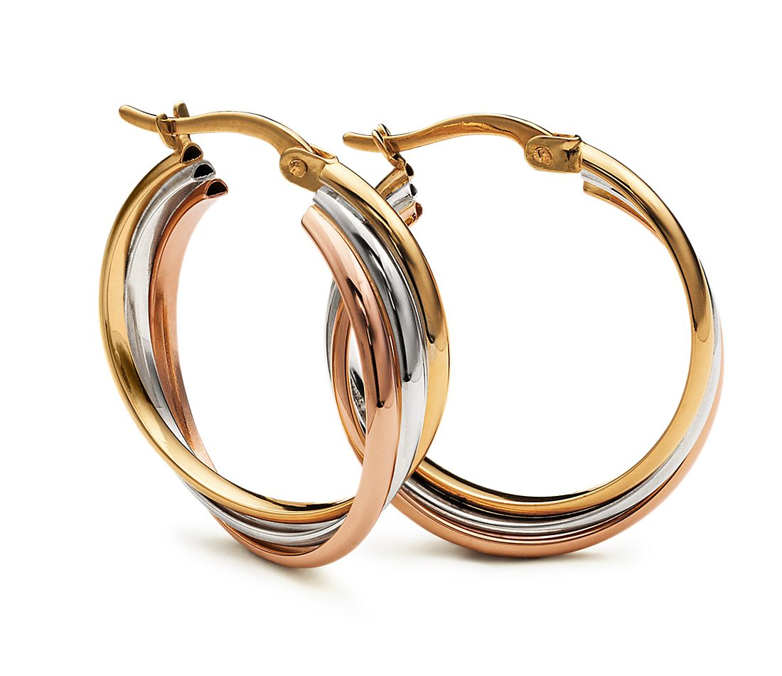 Hoop Earrings in 14k Tri-Colour Gold
