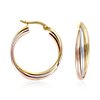 Triple Hoop Earrings in 14k Tri-Color Gold