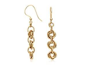 Knot Link Earrings in 14k Yellow Gold