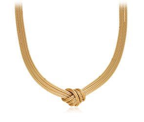 Love Knot Mesh Necklace in 14k Yellow Gold