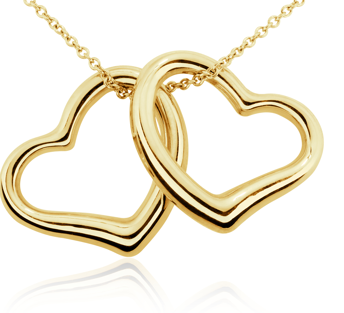 Classic Double Heart Pendant in 14k Yellow Gold