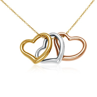 Triple Heart Pendant in 14k Yellow, White, & Rose Gold