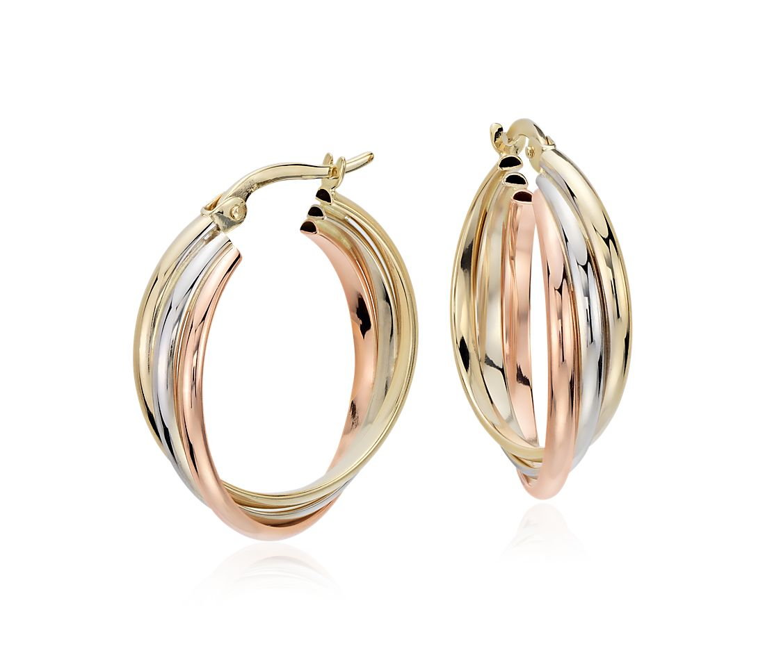 "Hoop Earrings in 14k Tri-Color Gold (3/4"")"