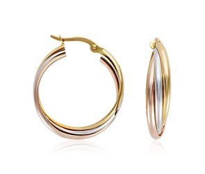 Trio Hoop Earrings in 14k Tri-Color Gold