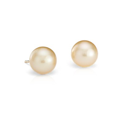 Golden South Sea Cultured Pearl Stud Earrings in 18k Yellow  Gold