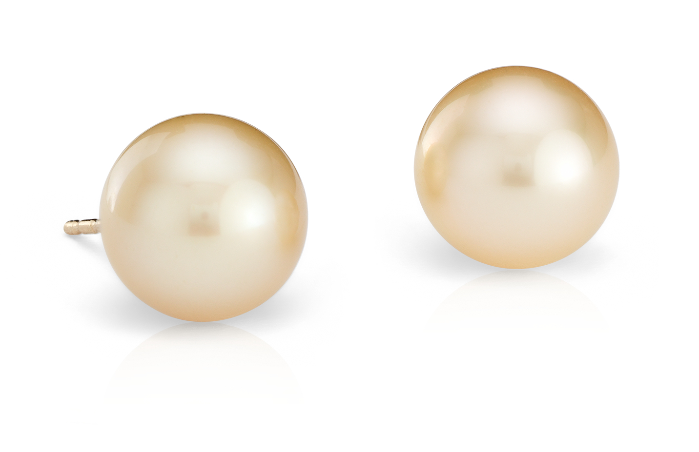 Golden South Sea Cultured Pearl Stud Earrings in 18k Yellow  Gold (9.4mm)