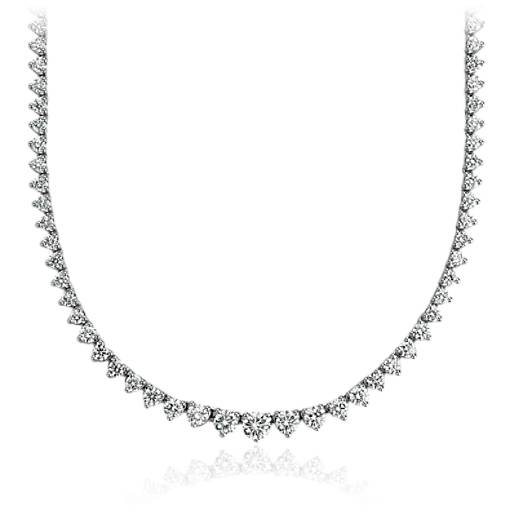 Graduated Diamond Eternity Necklace in 14k White Gold (7 ct. tw.)