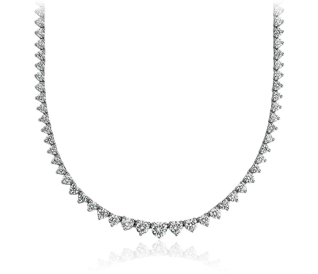 Collier d'éternité en diamants gradués en or blanc 14carats (7carats, poids total)
