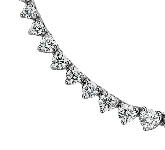 Collier d'éternité en diamants gradués en or blanc 14 carats (7 carats, poids total)
