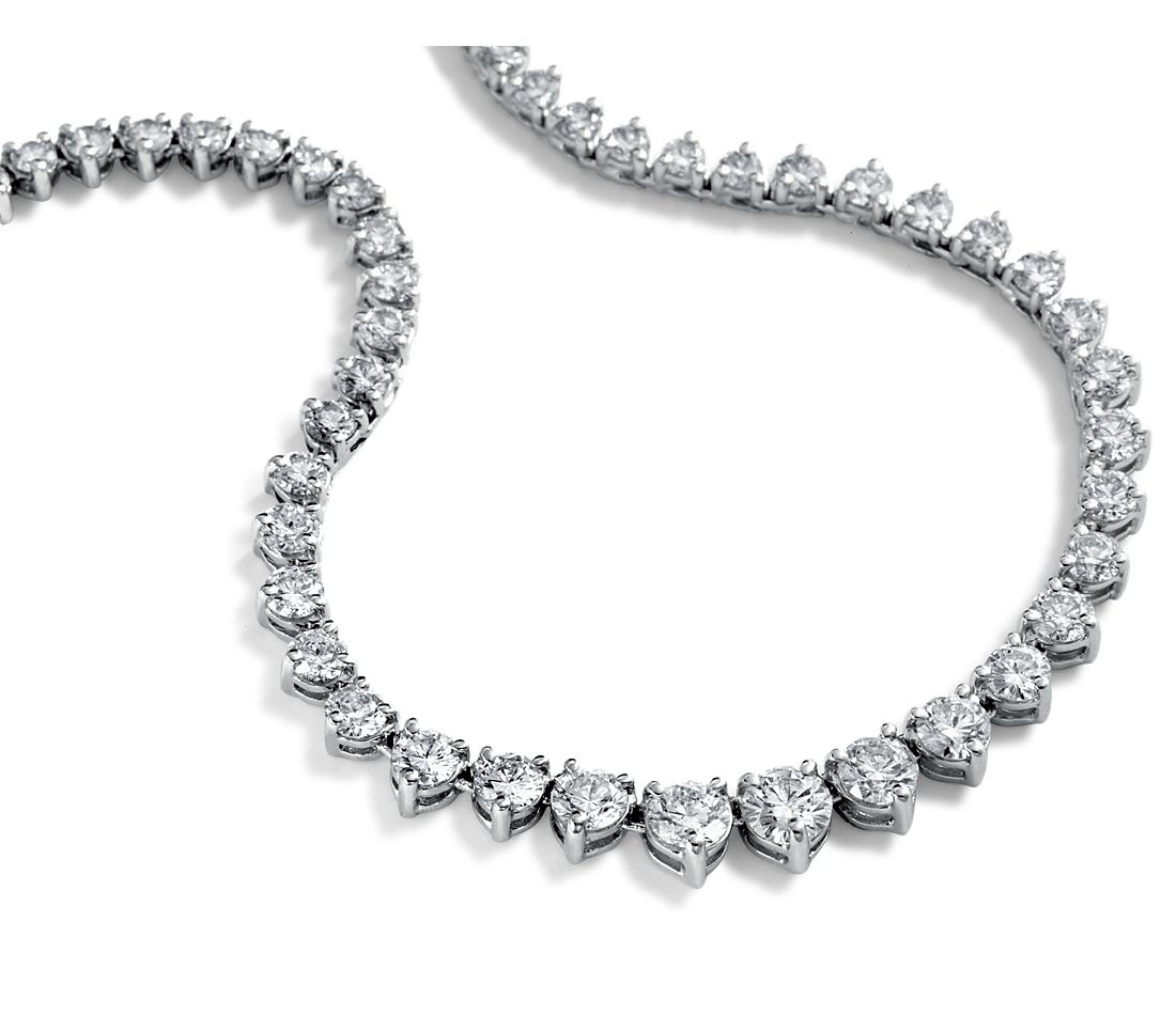 Collier d'éternité en diamants gradués en or blanc 14 carats (10 carats, poids total)