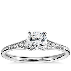 NEW 1/2 Carat Preset Graduated Milgrain Diamond Engagement Ring in 14k White Gold