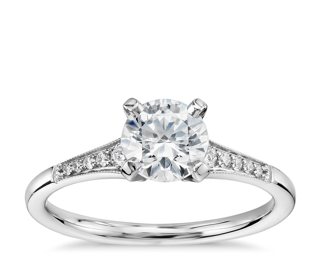 3 4 Carat Preset Graduated Milgrain Diamond Engagement Ring in 14k White Gold