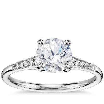 1 Carat Preset Graduated Milgrain Diamond Engagement Ring in 14k White Gold