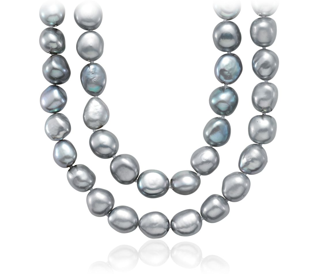 "Gray Baroque Freshwater Cultured Pearl Necklace - 54"" Long"