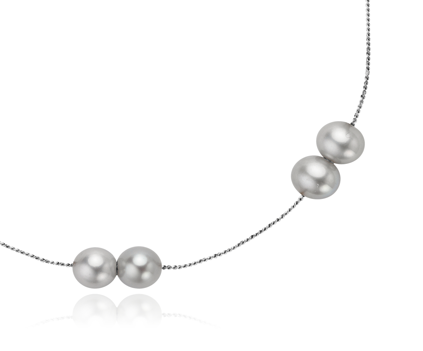 """Collier de perles de culture d'eau douce grises avec Argent sterling - 18"""" de long"""