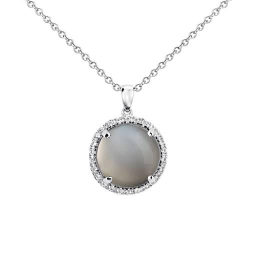 Colgante redondo con piedra lunar gris en plata de ley (13mm)