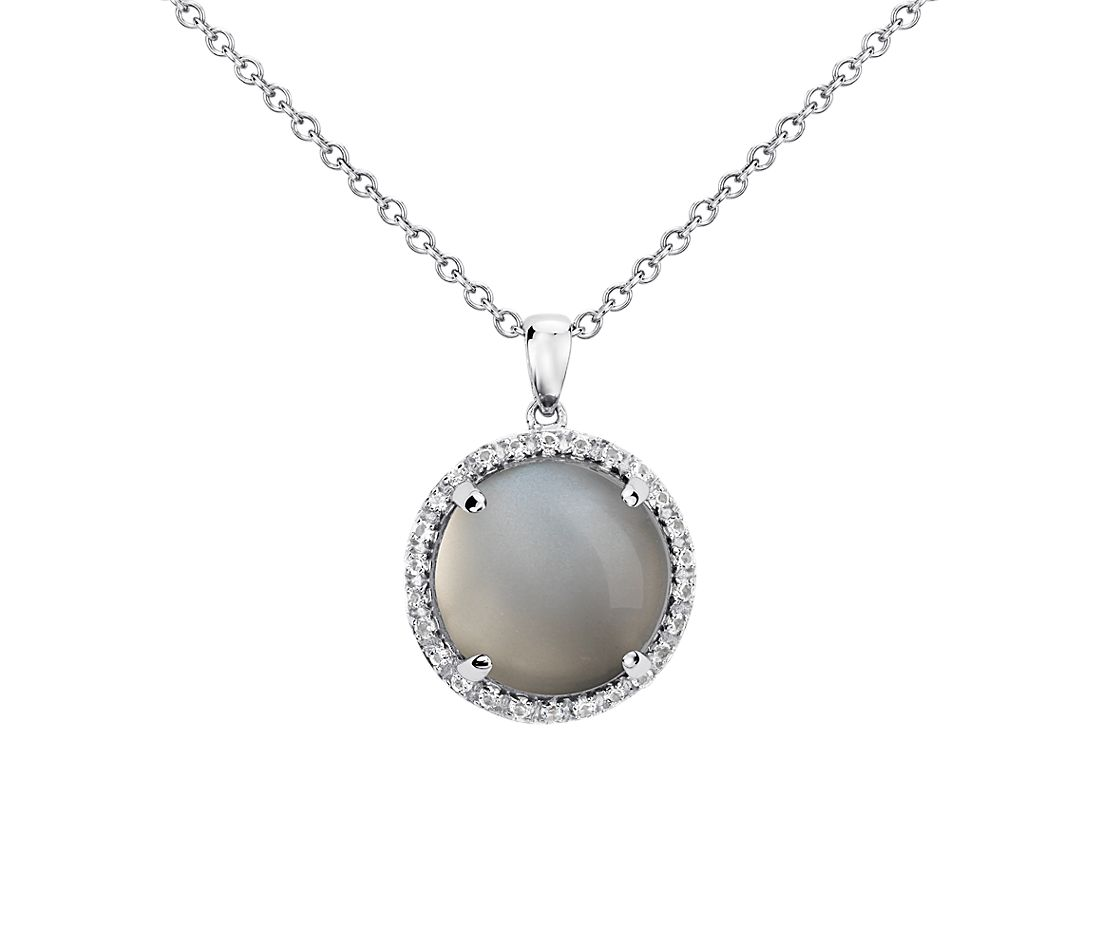 Gray Moonstone Round Pendant in Sterling Silver