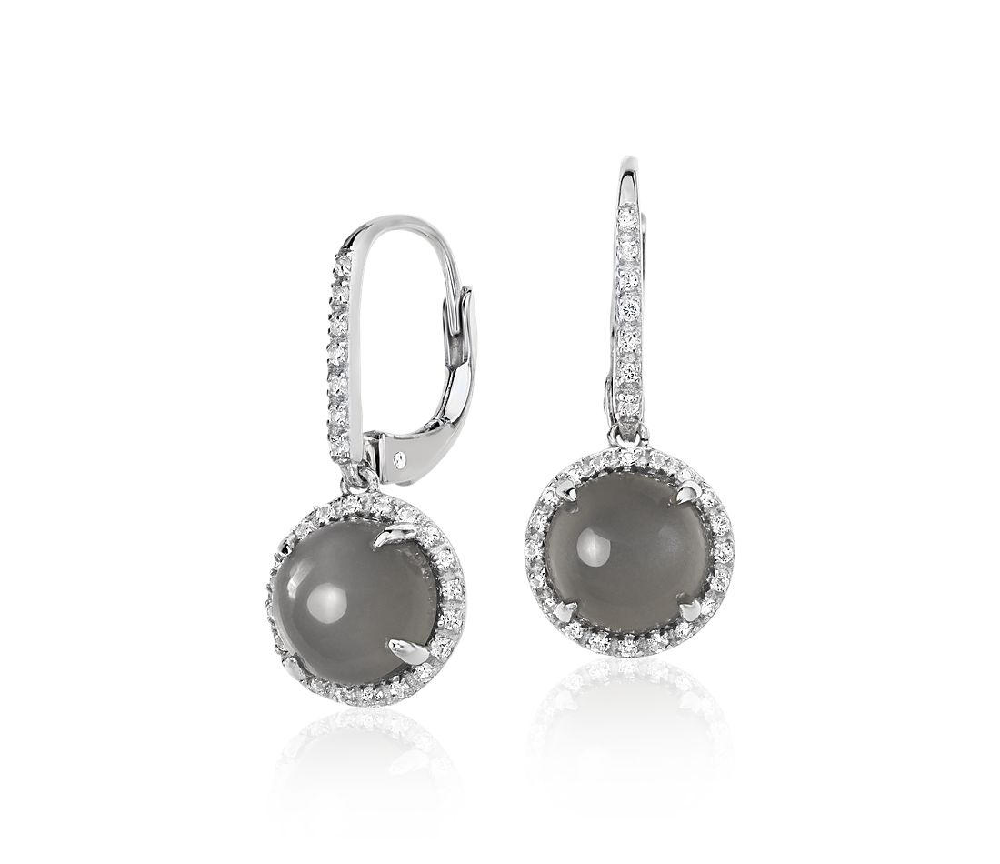 Gray Moonstone and White Topaz Round Drop Earrings in Sterling Silver