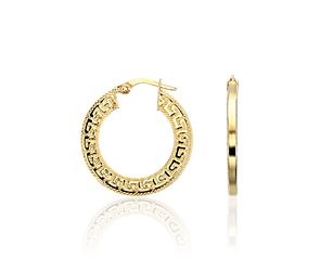 Greek Key Hoop Earrings in 14k Yellow Gold