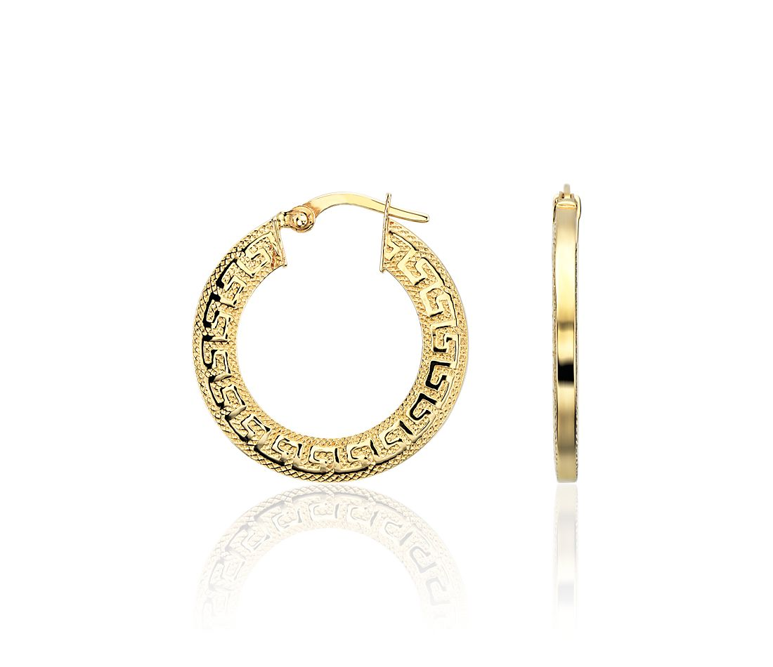 "Greek Key Hoop Earrings in 14k Yellow Gold (15/16"")"